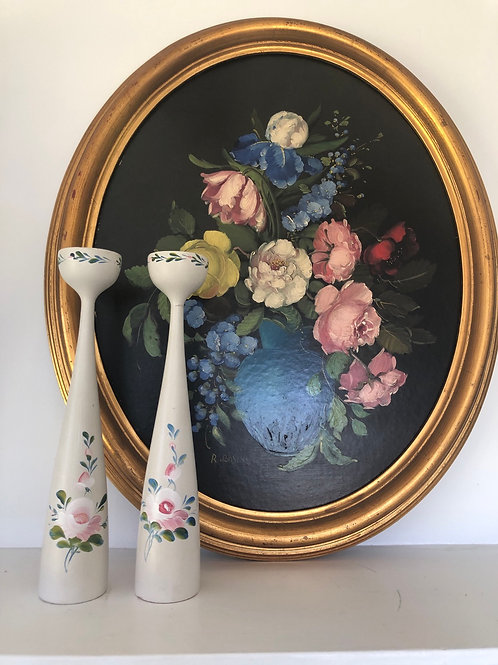 Pair of Vintage  Danish Hand Painted Candlesticks