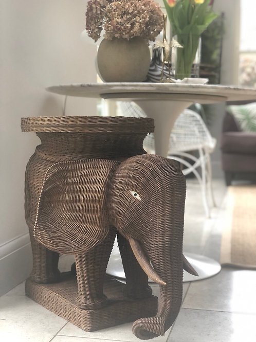 Extra Large Vintage Wicker Elephant Side Table
