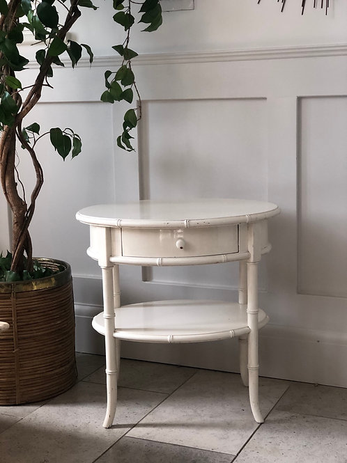Laquered faux bamboo side table