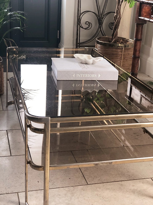 Milo Baughman Smoked Glass and Brass Coffee table
