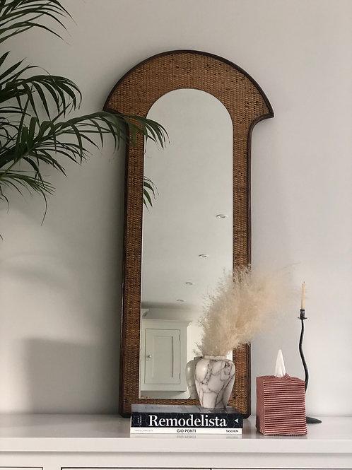 Tall vintage rattan mirror
