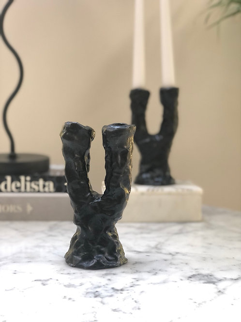 Ceramic Room Double Candle Holder Black