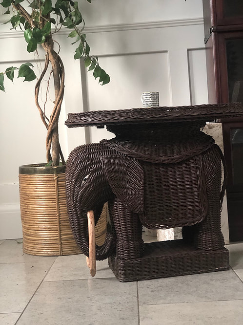 Vintage French Wicker Elephant (Rare Example)