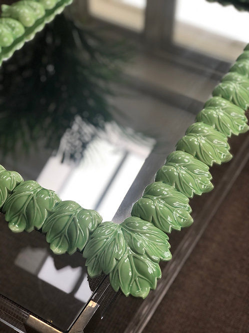 Vintage Spanish Ceramic Leaf Mirror