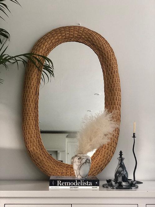 Large vintage Dutch woven mirror