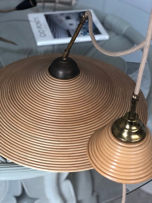 Vintage Italian bamboo and brass ceiling light
