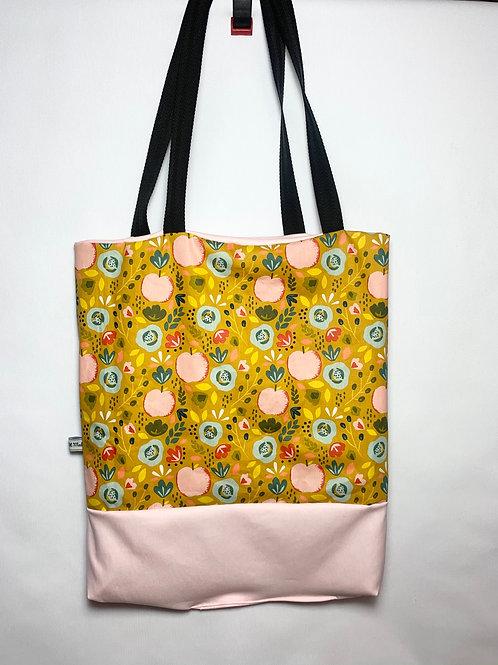 "Tote bag réversible ""Pêches roses"""