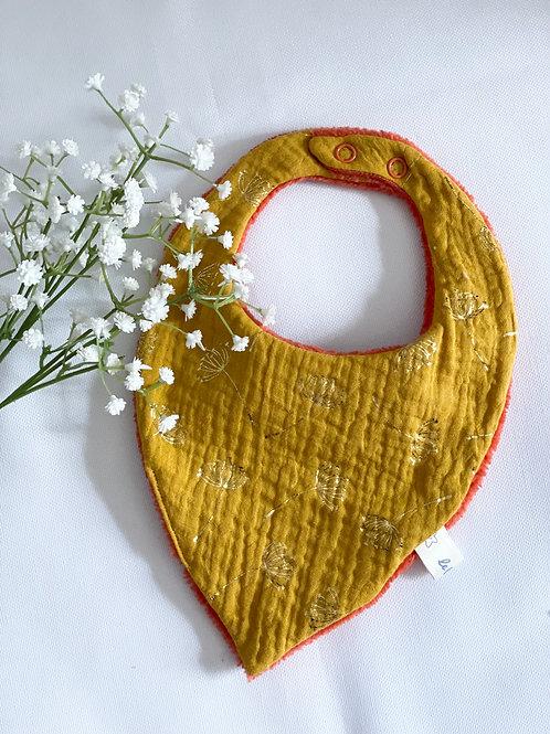 "Bavoir bandana ""Dandelions jaune moutarde"""