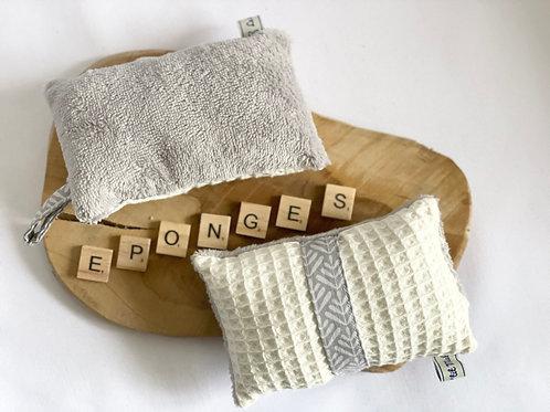 Éponges lavables et réutilisables (lot de 2) - Epis blanc / gris