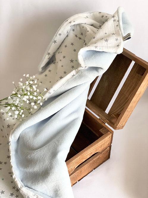 """Couverture polaire """" Etoiles grise - Polaire bleu ciel"""""""