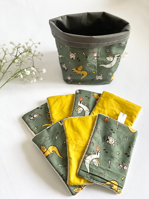"""Semainier de lingettes lavables pour bébé et son petit panier """"Dragons"""""""