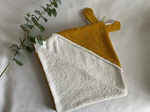 Cape de bain ourson jaune moutarde dandelions dorés