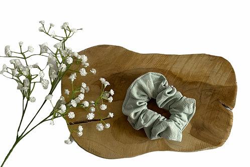 Chouchou coton vert d'eau fleurs blanches