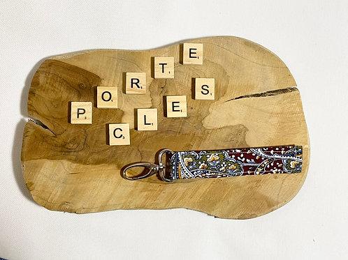 """Porte-clefs""""Fleuris bordeaux"""""""