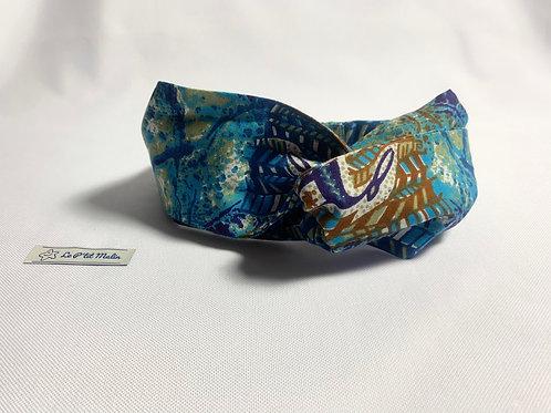 """Headband """" Wax bleu - marron """""""