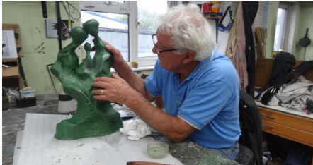 Neil Lawson Baker working on a wax sculpture prior to lost wax bronze casting