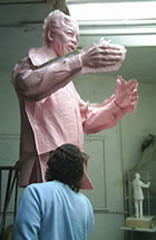 Richard working the silicon rubber mould of on Nelson Mandela by Ian Walters 3.5m