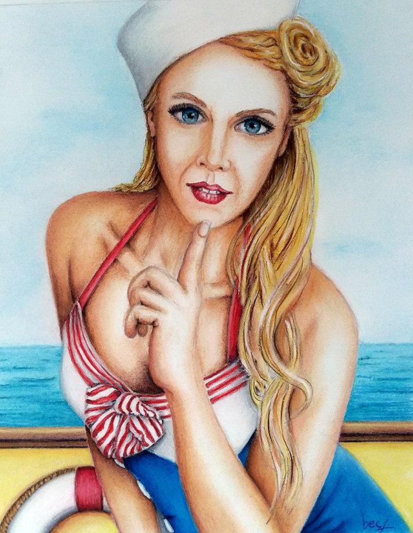 """""""Hello Sailor"""", pastel, Rebecca R Sherrick"""