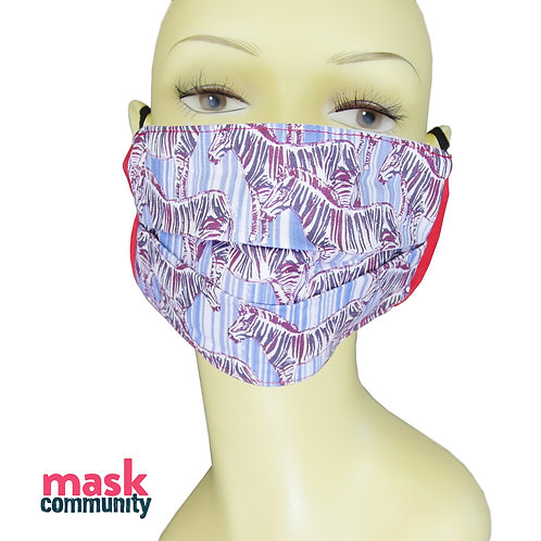 Blue Zebra Face Mask with Red Trim