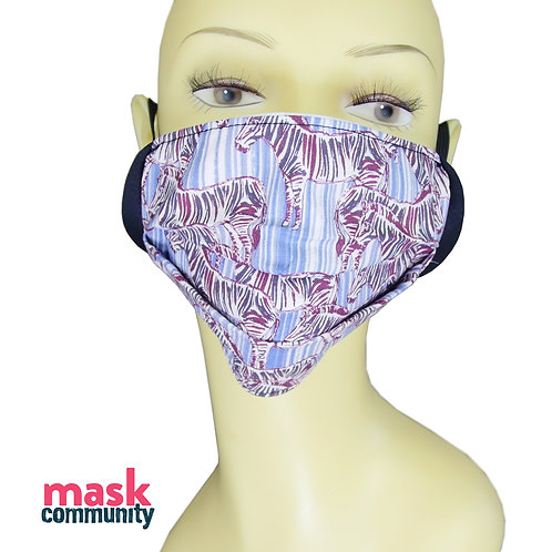 Blue Zebra Face Mask with Black Trim