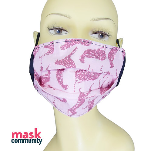 Pink Cheetah Face Mask with Black Trim