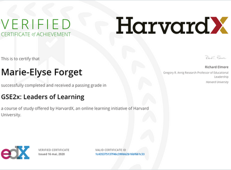"Obtention du certificat ""Leaders of Learning"" de Harvard X"