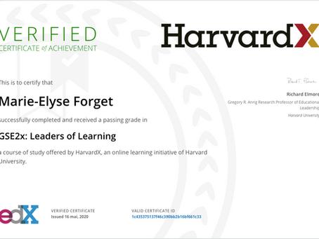 "Obtention du certificat ""Leaders of Learning"" de Harvard X"