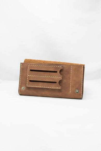 Кисет для самокруток кожаный коричневый с отделом для машинки