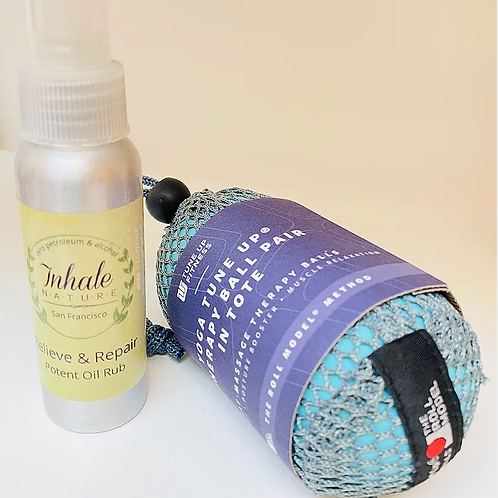 Pain Relief Oil & Yoga TuneUp Therapy Balls Set