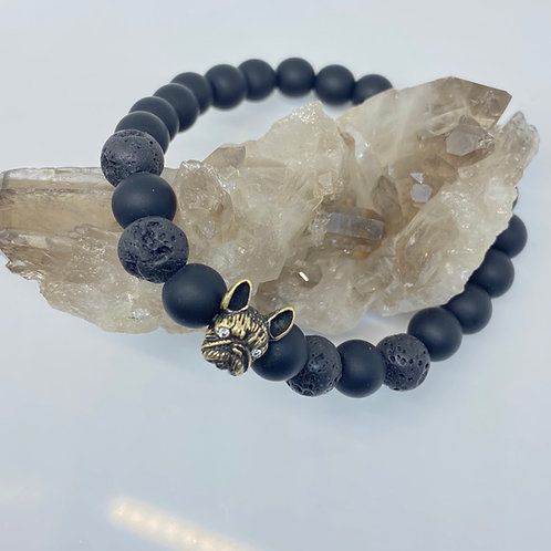 Frenchie Bracelet - Natural Lava Stone: March Special