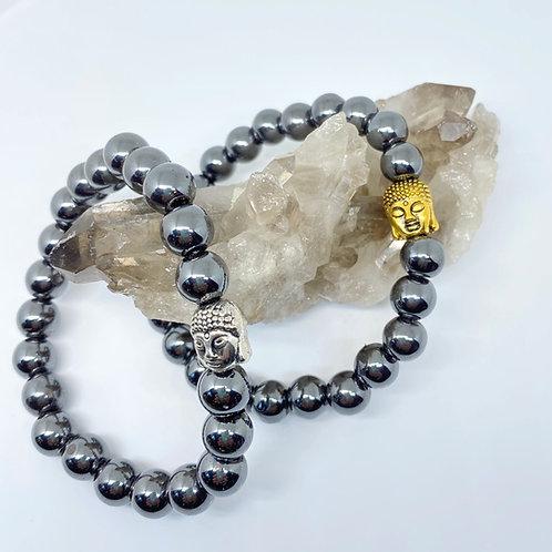 Calming Buddha Hematite Bracelet