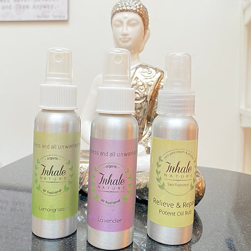 Inhale Nature  Organic Selfcare Set: Air Mists + Relieve & Repair Rub