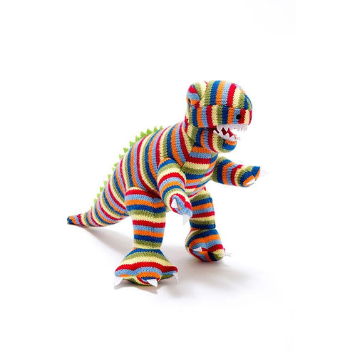 KNITTED RAINBOW T REX  DINO RATTLE, SMALL