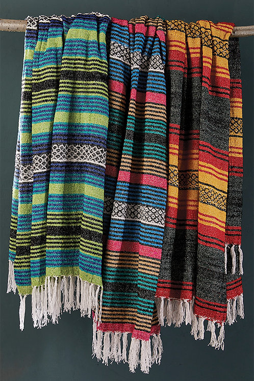 Recycled Cotton Striped Throw