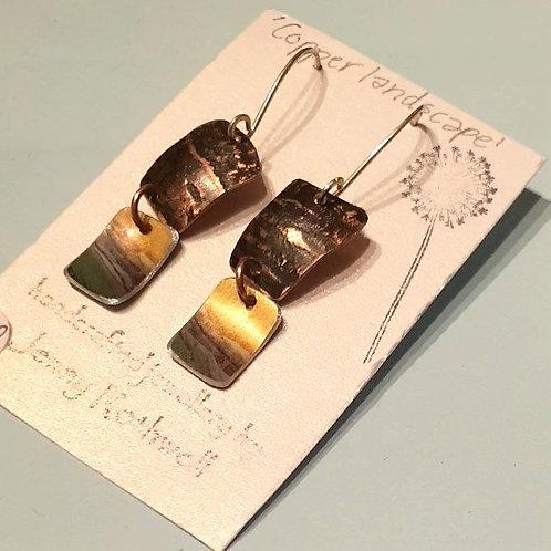 Copper Landscape Earrings