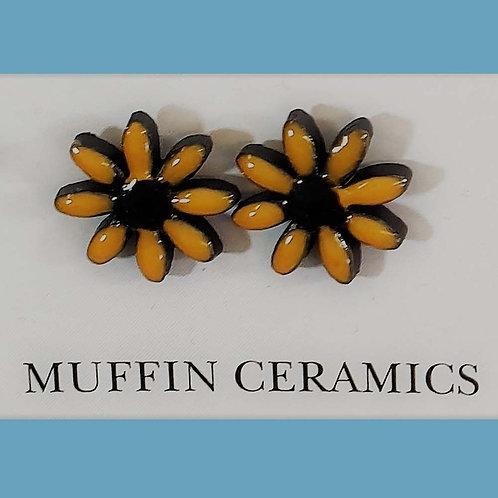 Orange/Black Daisy Porcelain Studs