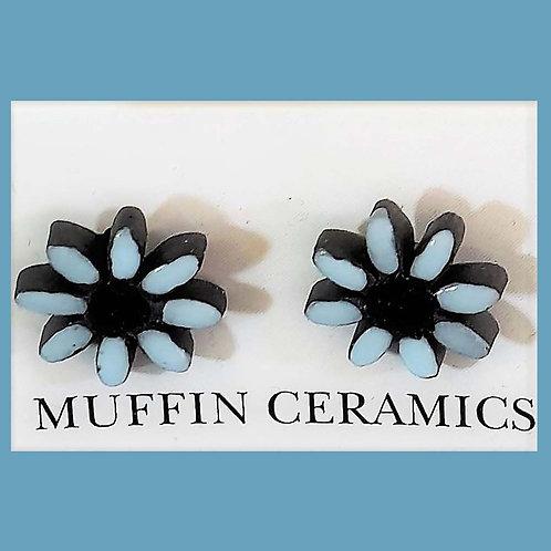 Blue/Black Daisy Porcelain Studs