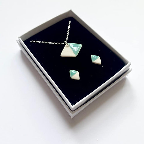 Mint Green Diamond Pendant Necklace and Stud Earring Gift Set