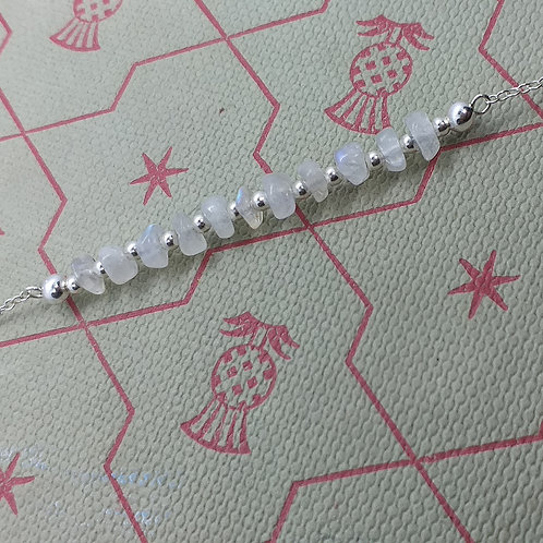Sterling Silver Moonstone Gemstone Bar Necklace