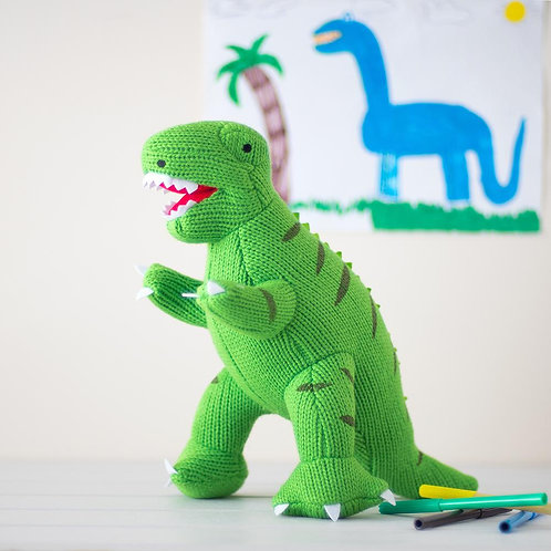 GREEN KNITTED T REX DINO SOFT TOY, LARGE