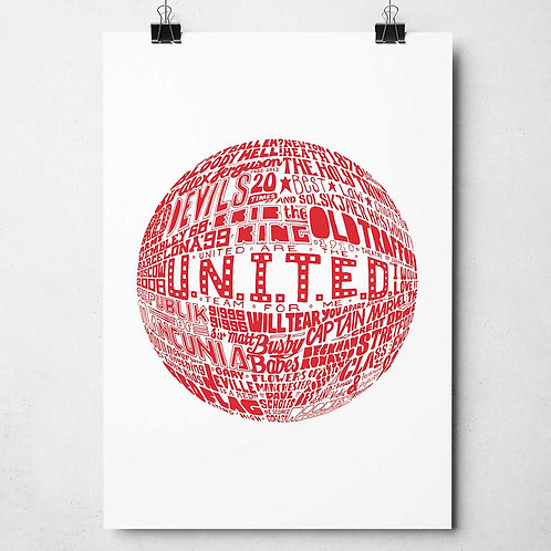 Manchester United Print - Red on White