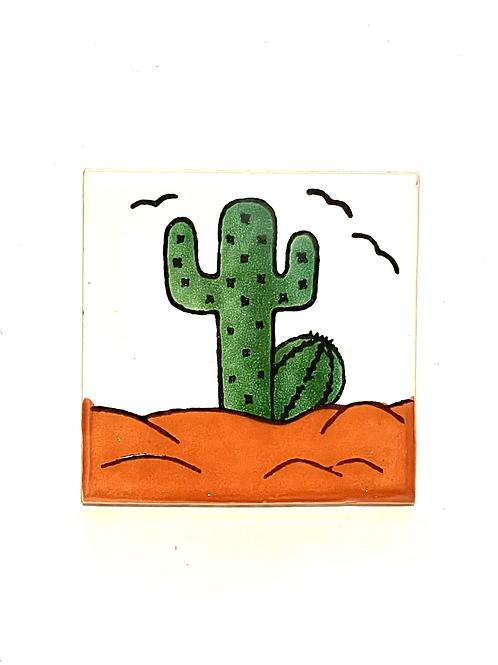 Mexican Tile Coaster Cactus