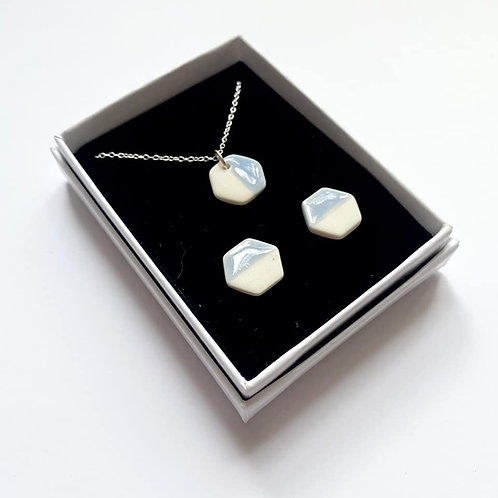 Pale Blue Hexagon Pendant Necklace and Stud Earring Gift Set