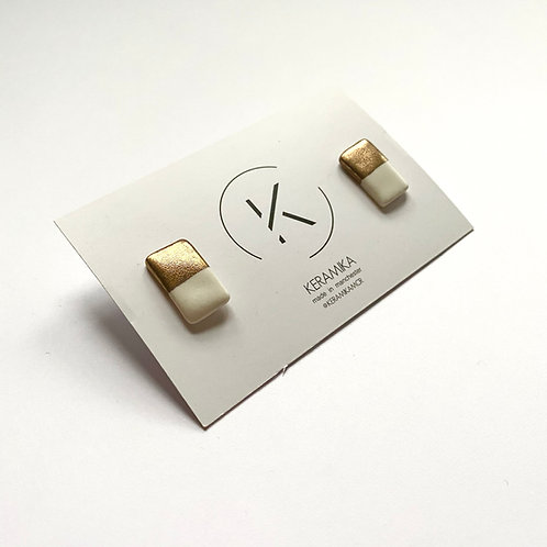 Large Rectangle Porcelain Stud Earrings with Half Gold Lustre