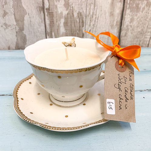 Piña Colada Scented Soy Candle in a vintage china tea cup