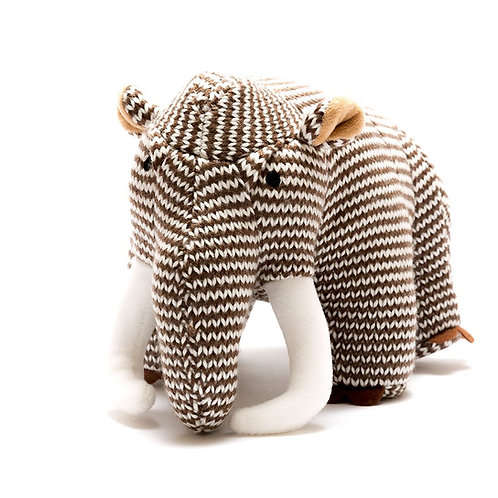 KNITTED WOOLLY MAMMOTH SOFT TOY, MEDIUM