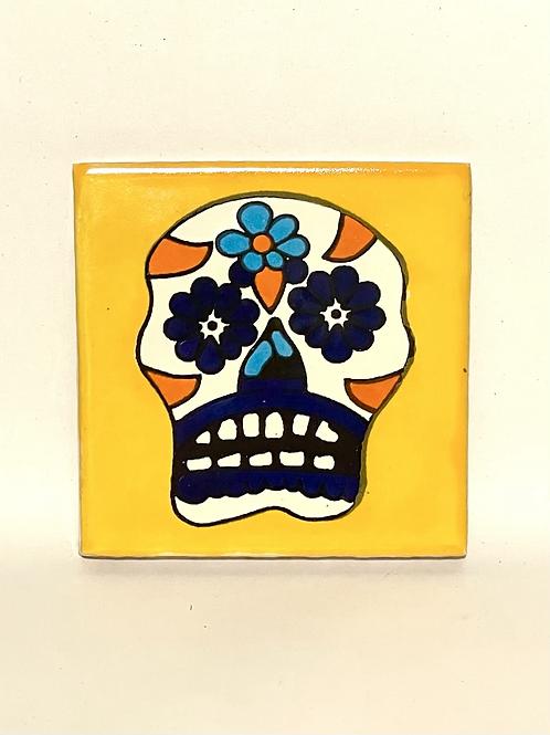 Mexican Tile Coaster Mustard Skull