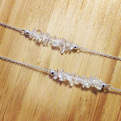 Sterling Silver Crystal Quartz Gemstone Bar Necklace.