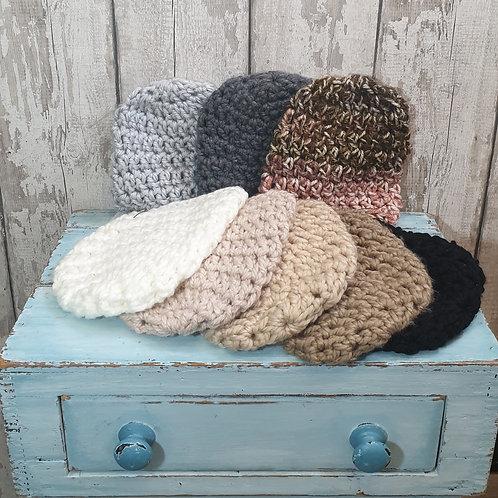 Chunky Hand Crochet Beanie Hat - Naturals
