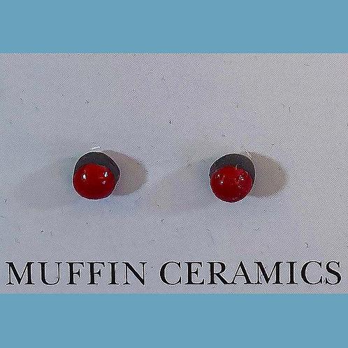 Red Dot Porcelain Studs